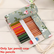 48 Holes Colored Pencils Canvas Storage Bag Organizer Pastoral Style Peony Handmade Roll Up Pen Art Sketch Pencil Case