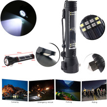 High Quality   Outdoor Safety Hammer Solar Power Flashlight Emergency Rescue Tool Lamp Light ES