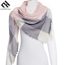 Everfelan Brand New Women'S Scarf High Quality Classic Lattice Design Women Triangles Scarf Long Scarves Shawl Autumn Winter(China)