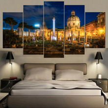 Fashion Canvas Painting Wall Art Print 5 Panel Famous Building Italy Building Landscape Home Decor Picture For Living Room Frame(China)