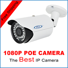 PLV 1080P POE IP Camera ONVIF Waterproof Outdoor IR CUT Night Vision P2P Plug and Play Mini Bullet POE IP Camera, free shipping