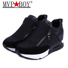 MVP BOY 2017 woman's shoes Height Increasing Side zipper thick soled Foot pedal women's casual Lazy shoes  white red black