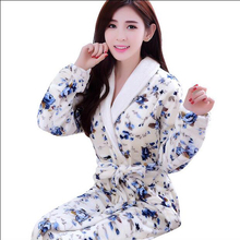 Winter Womens Nightgowns Flannel Warm Bathrobe Nightwear Kimono Dressing Gown Sleepwear Soft Bath Robe For Ladies Housecoat(China)