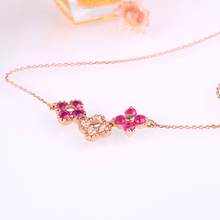 Robira 2017 New Style Four Leaf Clover Flower Red Ruby Necklace Wedding Bride 14K Rose Gold Jewelry Pendant Necklace For Women(China)