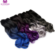 "Neverland 24"" 60cm 5 Clips Long Curly Synthetic Dip Dye Hairpieces Grey Blue Purple Ombre Clip In One Piece Hair Extensions"