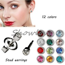 Showlove-12pairs Silver&Gold Ear Studex Studs Piercing Earrings Mixed CZ gem Ear Studs 3mm, 4mm for you choose Free Shipping
