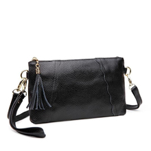 FENPU Brand Women Genuine Leather Small Shoulder Bags Cow Leather Bag Fashion Tassel Ladies Clutch New Women Messenger Bags(China)