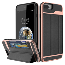 For iPhone 8 / 8 Plus with Card Holder,WEFOR Wallet Case with Credit Card Holder Slim Leather Shockproof Protective Case(China)