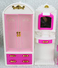 Doll Furniture European Style Fashion Closet Wardrobe Outfit Dressing table Mirror Set for Barbie doll