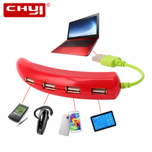 CHYI USB Hub 2.0 4 in 1 4 Ports Pepper Splitter Adapter Chili High Speed For Computer PAD Tablet Mouse Bluetooth Phone Keyboard(China)