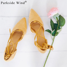 Parkside Wind Trendy Girl Sweet Brand Sandals Pointed Toe High Heels Solid Causal Cross tied Women Ankle Strap Shoes 0197-5