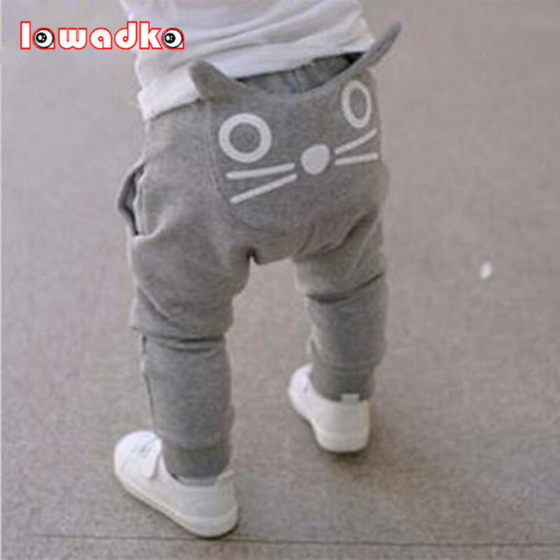 2017 Children Kids Baby Boys Girls Cute Cartoon Cat Harem Pants Trousers Pants 9 Months, Gray