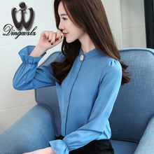 Buy Dingaozlz long-sleeved chiffon shirt female 2017 autumn new Korean elegant stitching chiffon blouse women clothing casual tops for $13.68 in AliExpress store