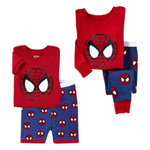 2017 Kids Pajamas Cartoon Spiderman Cotton Boys Clothes Set T-Shirts + Shorts / Pants 2pcs Boy Sleepwear Suit Children Clothing(China)