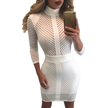 2017 Spring Hot Selling Sexy Style Club Dresses For Women Three Quarter Sleeve High Neck See Through Mesh Striped Dress E22860(China)