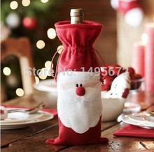 10pcs/lot Hot Xmas Santa Claus Red Wine Bottle Cover Gift Bags Christmas Dinner Party Table Home Party Decorations Supplies