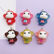 30*30mm mix10pcs Flat back resin Little monkey necklace charms very cute keychain pendant necklace pendant for DIY decoration(China)