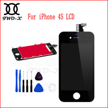LCD For iPhone 4S Display+Touch Screen digitizer Bezel Frame free Tools Replacement Assembly Black&White mobile phone parts(China)