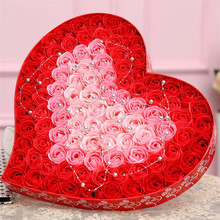 100pcs / set gradient soap rose romantic Valentine's Day gift birthday gift wedding decoration cash thicker soap flower gift bo(China)