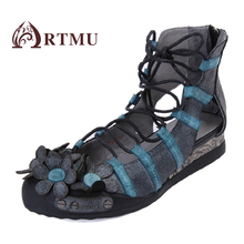 Artmu 2017 Handmade Cross Tied Design Women Shoes,Gladiator Flats Vintage Genuine Cow Leather Shoe Cross Tied Comfortable Female