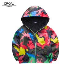 80-140cm Camouflage Spring Outerwear Children Hooded Jacket For Boys Kids Girls Trench Coat Hooded Windbreaker Sport Suit(China)