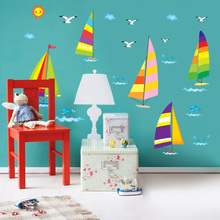110*180cm Cartoon Cute Small Sailing Boat Wall Stickers for Kids Rooms Bedrooms vinyl poster wallpaper Home Decor