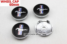 4 X BLACK RUNNING HORSE 60MM CAR WHEEL Hub Center LOGO Caps Metal Aluminum emblem badge Fits for Mustang
