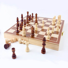 2017 New International Chess Checkers Folding Magnetic High-grade wood grain Board Chess Game