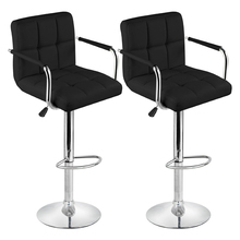 2 Faux Leather Kitchen Breakfast Bar Stool Bar Stools Swivel Stools (Style A, Cream,Black)(China)