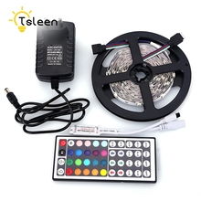Kit Set Sale RGB 5m SMD 3528 300 LEDs LED strip light diode tape 300leds waterproof DC 12V 2A power adapter+Remote Control(China)