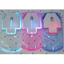 New Unique Ultra Thin Transparent Style 2.4GHz Wireless Optical Mouse Wireless Mouse Fashion Colorful Luminous Mouse(China)