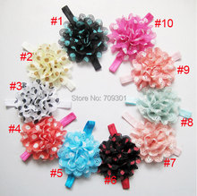 "4.5"" large dot chiffon flower headband for baby children kids 10 colors 50pcs/lot(China)"