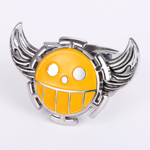 J Store Angel Wings Face Rotatable Rings for Women Hot Anime Souvenir One Piece Trafalgar Law Zinc Alloy Ring Men Jewelry
