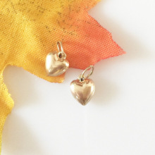 Gold filled stereo peach heart charm for making women Bracelet Accessories 7mm 1pc
