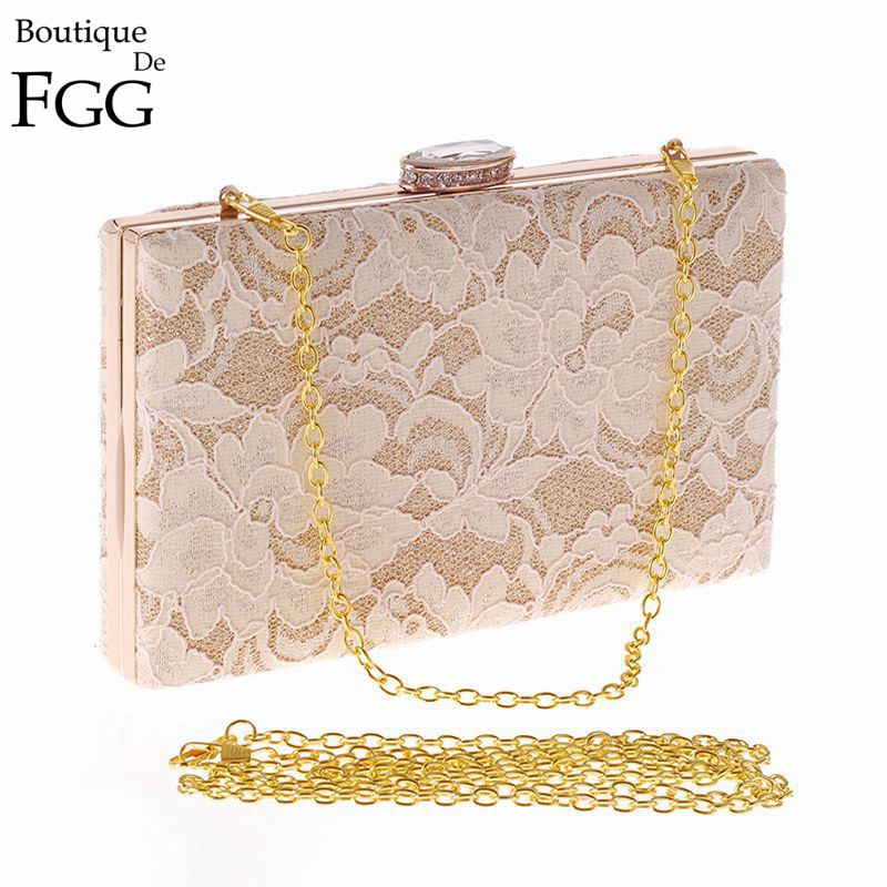 Socialite Lady Champagne Lace Evening Bags Women Wedding Party Dinner Handbags Metal Clutches Shoulder Bag Bridal Box Clutch Bag<br><br>Aliexpress