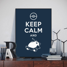 Pop Anime Game Pocket Monster Snorlax Keep Calm Quotes Canvas Art Print Poster Wall Picture Kids Room Decor Painting No Frame(China)