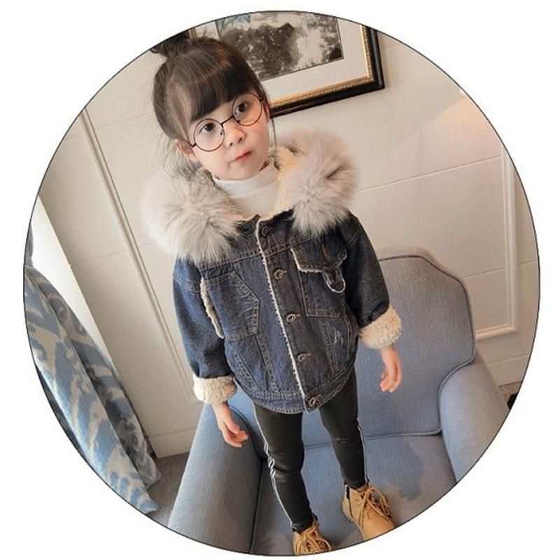 2017 New Winter Kids girls Denim Jacket Children flower Thick Velvet jeans Kids Outweater New warm Casual Kids Velvet Coat<br>