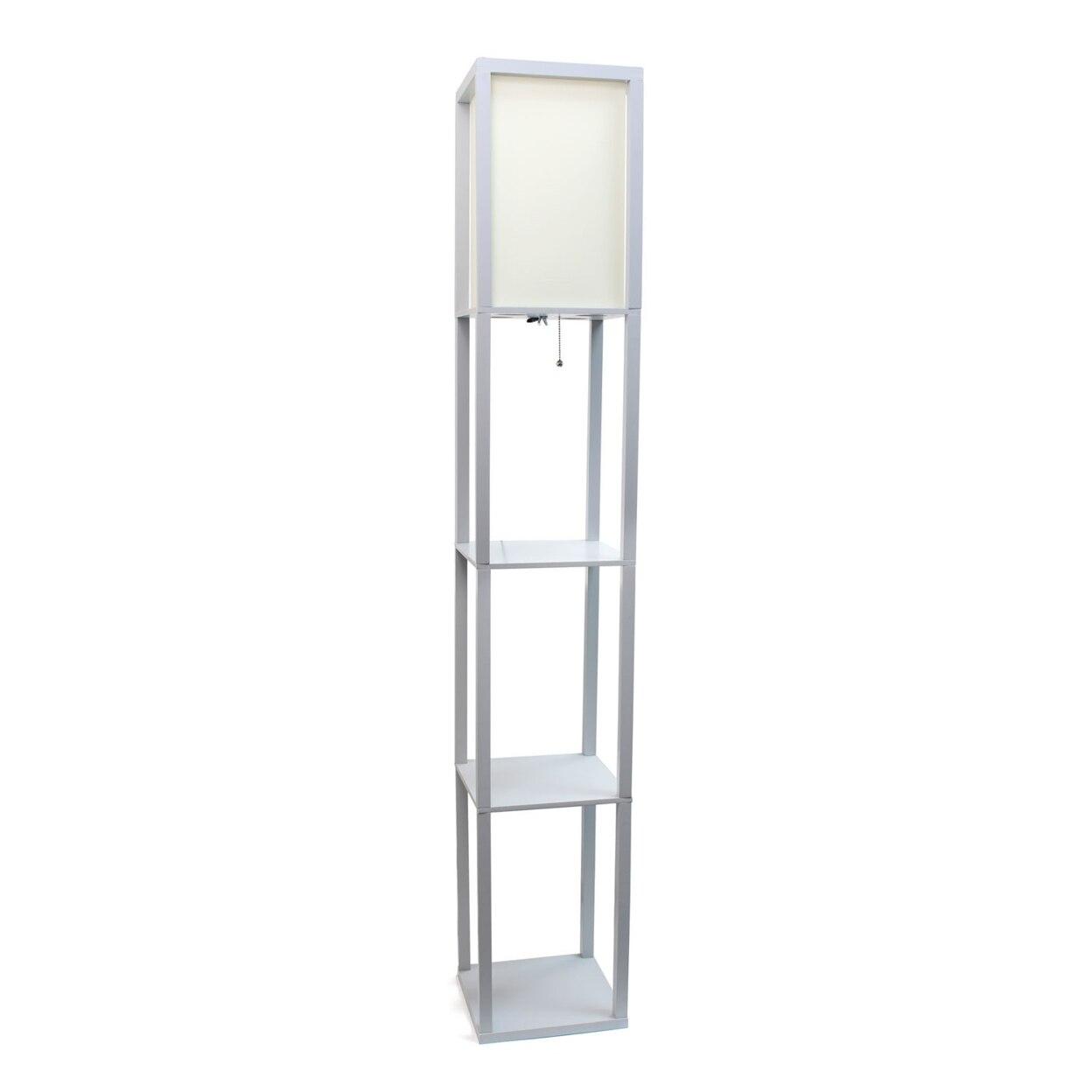 Simple Designs Floor Lamp Etagere Organizer Storage Shelf Linen Shade - Additional Colors