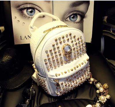 Rhinestone skull rivet punk fashion bags womens  Mini Backpacks mens casual shoulder bag free shipping 4 colors<br>