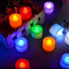 Colorful Led Candle Shape Plastic light 7 Colors Flickering Flameless Led Tea Light For Party Wedding Birthday Decoration