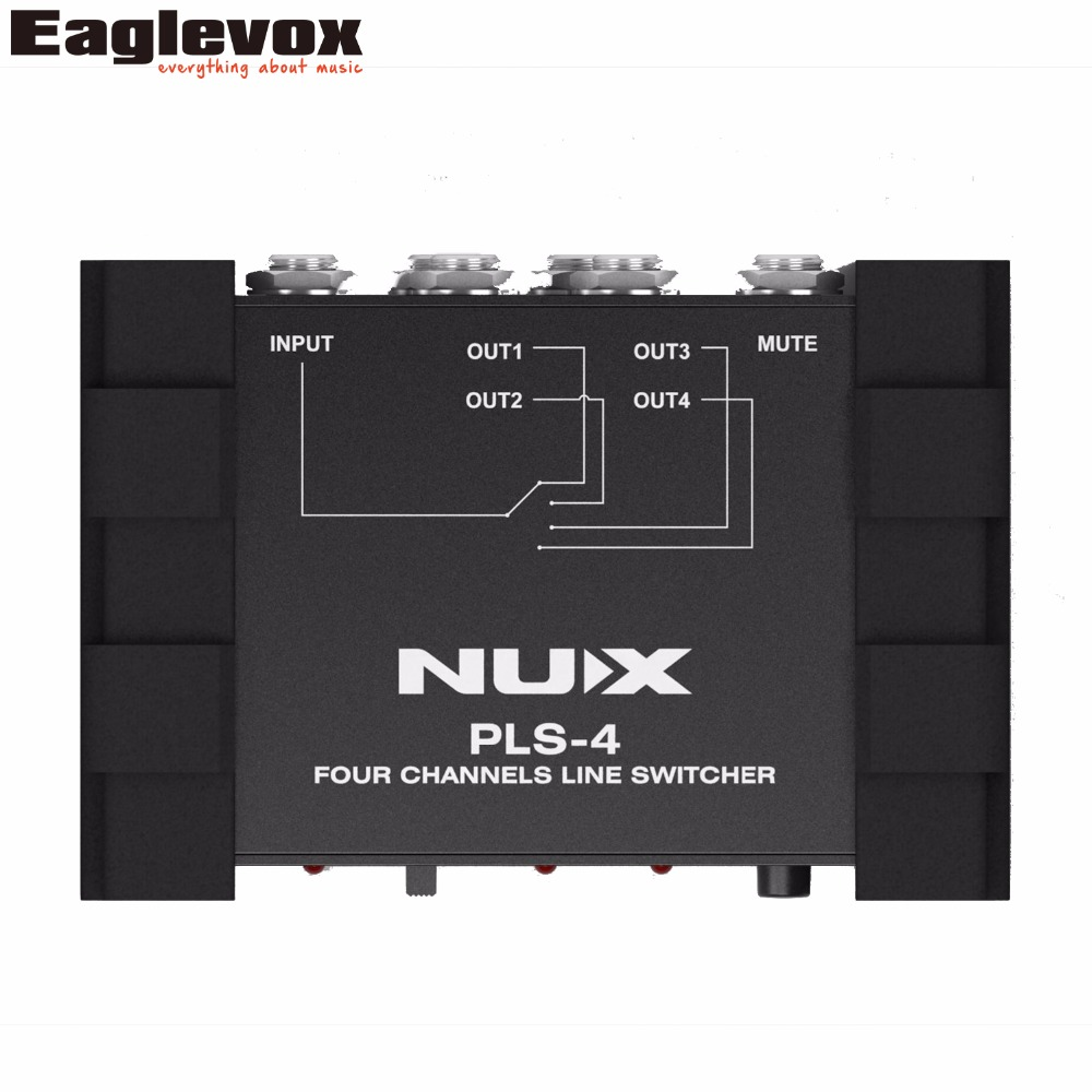 NUX PLS-4 Four-channel Line Switcher 1 Input To 4 Outputs Or 4 Inputs To 1 Output Extra Low Noise True-bypass<br>
