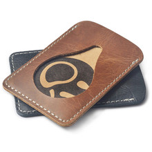 Ultra Thin Leather Card & ID Holders for Men Credit Cards Bag / Korean Women Mini Cow Leather 1 Banks Card Purse Middle Pocket(China)
