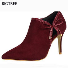 2017 BIGTREE New Fashion Shoes Women  Ankle Boots Butterfly -knot Flock  High Heel Hollow Deep Mouth Pumps 58 TXJ