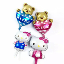 mini hello kitty bear balloon party foil baby boy girl balloons Birthday Party Decoration