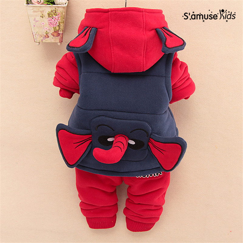 3 pcs/ Set Newest Baby Boy Clothes Autumn Winter Thick Warm Kids Costume 3D Ears Nose Cartoon Cute Baby Clothing Hooded Jackets<br>