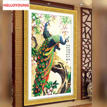 YGS-026 DIY 5D Diamond Painting Cross Stitch Round Diamonds Embroidery Peacock wealth  good fortune Diamond Mosaic Home Decor