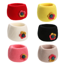 Toddler Kids Baby Scarf Winter Neckerchief Flower Wool Knitted Neck Warmer Scarf Red/Yellow/Black/White/Pink/Beige 3 to48 Months(China)