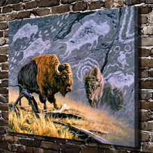 A0407 Wildebeests Grassland Scenery Animal. HD Canvas Print Home decoration Living Room bedroom Wall pictures Art painting