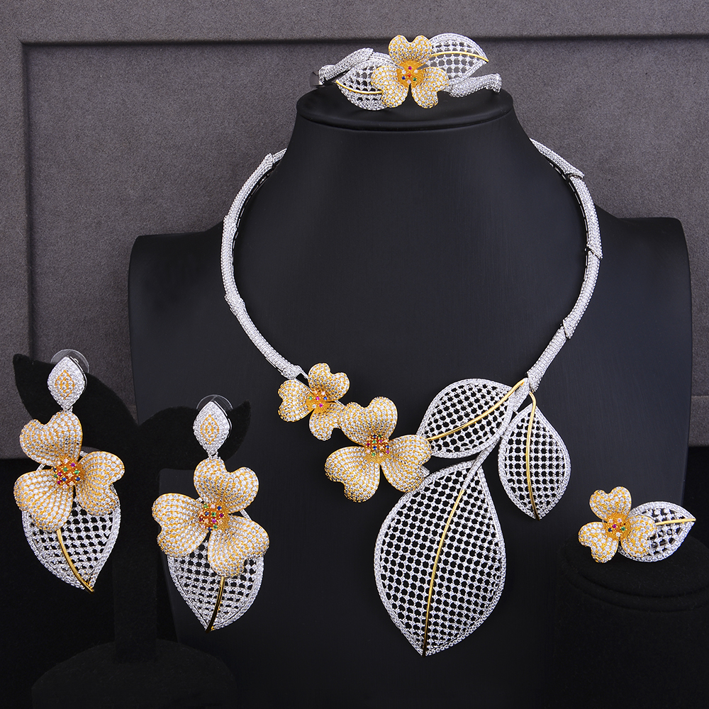 GODKI Luxury FLower Floral 4PCS DUBAI Jewelry Sets For Women Wedding Cubic Zircon Crystal CZ Indian African Bridal Jewelry Sets