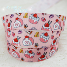 "7/8"" (22mm) printed grosgrain candy pink cake ribbon colored decoration ribbons"